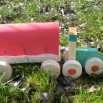 Traktor und Anhänger Bastelidee für Kinder