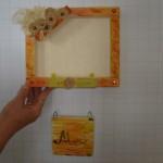Kinder bauen Bilderrahmen mit Namenstafel aus Holz
