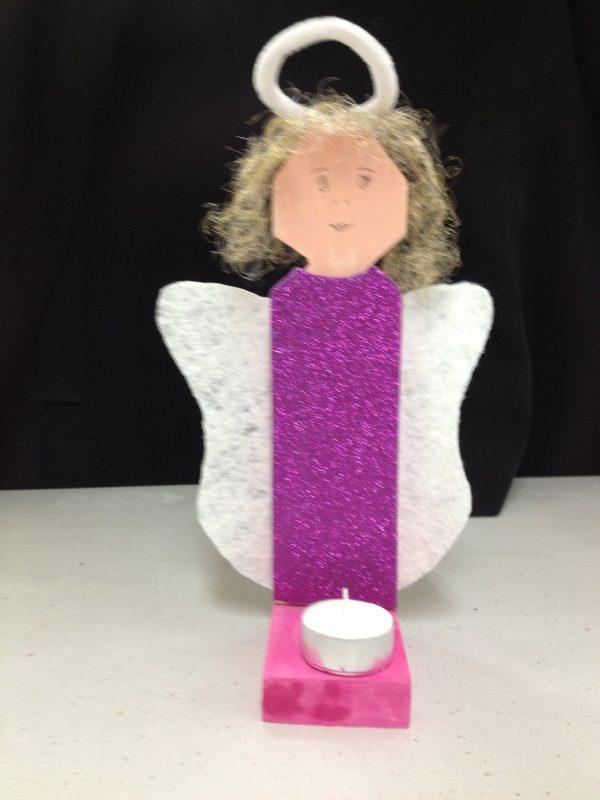 Engel als Kerzenständer Bastelidee für Kinder